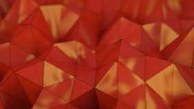 Polygonal red plastic shape 3D rendering with DOF. Polygonal red plastic shape. Abstract background. 3D rendering with DOF Stock Photography