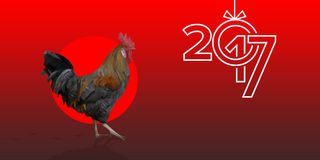 Polygonal Rooster leghorn cock on the red background. Polygonal Rooster cock leghorn on the red background with red circle and bird footprints. Text 2017 and Royalty Free Stock Photos