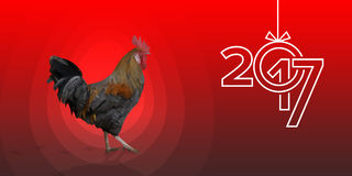 Polygonal Rooster leghorn cock on the red background. Polygonal Rooster cock leghorn on the red background with red egg and bird footprints. Text 2017 and copy Stock Photo