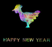 Polygonal rooster and letters happy new year image Stock Image