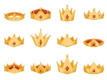 Polygonal royal crown head power 3d cartoon icons set isolated vector illustration Stock Photos