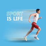 Polygonal running man. Vector geometric illustration. sport is life Royalty Free Stock Photos