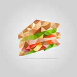 Polygonal sandwich illustration Stock Images