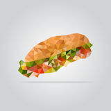 Polygonal sandwich illustration Royalty Free Stock Photo