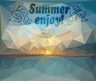 Polygonal seaside view poster Stock Photography