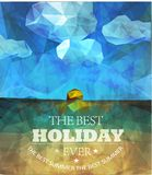 Polygonal seaside view poster Stock Images