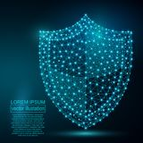 Polygonal security shield abstract image. Low poly Royalty Free Stock Photo