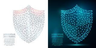 Polygonal security shield abstract image. Low poly Stock Photo