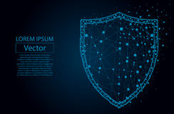 Polygonal security Shield composed from particles vector illustration. Security Shield composed of polygons. Business concept of data protection. Low poly vector royalty free illustration