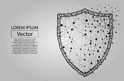 Polygonal security Shield composed from particles vector illustration. Security Shield composed of polygons. Business concept of data protection. Low poly vector stock illustration