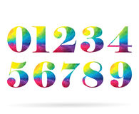 Polygonal set rainbow numbers collection. Number zero  illustration Royalty Free Stock Images