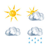 Polygonal set for weather forecast sun, overcast, rain Royalty Free Stock Image