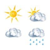 Polygonal set for weather forecast sun, overcast, rain Royalty Free Stock Image