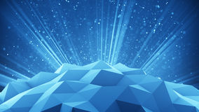 Polygonal shape and light rays 3d render. Polygonal shape and blue light rays with particles. 3D render illustration Stock Photography