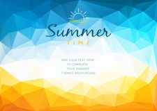 Polygonal shapes Summer time background with text - illustration. Polygonal shapes vector illustration of a glowing Summer time background vector illustration