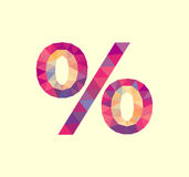 Polygonal sign percent for discounts and promotions % Royalty Free Stock Image