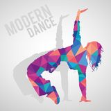 Polygonal silhouette of sportive girl dancing modern dance style. Colorful polygonal silhouette of sportive girl dancing modern dance styles. Modern dance Royalty Free Stock Photos