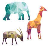 Polygonal silhouettes of african animals Stock Images
