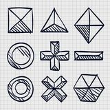 Polygonal sketch shapes. Polygonal sketch shapes, Sketch figures icon set, Vector illustration Royalty Free Stock Images