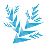 Polygonal snöflinga med triangulära polygoner Royaltyfri Foto
