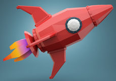 Polygonal space rocket Royalty Free Stock Image