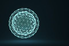 Polygonal sphere with connected lines and dots Royalty Free Stock Images