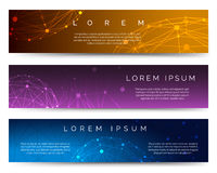 Polygonal spheres banners Royalty Free Stock Photography