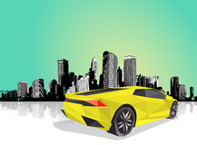 Polygonal sport car with cityscape at the background. Stock Images