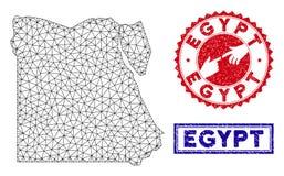 Polygonal st?mplar f?r f?r tr?dramEgypten ?versikt och Grunge royaltyfri illustrationer