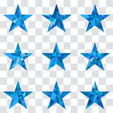 Polygonal star vector background. Low poly blue star make with triangles. Flickering polygonal star vector background Stock Images