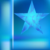 Polygonal star vector background. Low poly blue star make with triangles. Flickering polygonal star vector background Stock Image