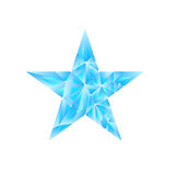Polygonal star vector background. Low poly blue star make with triangles. Flickering polygonal star vector background Royalty Free Stock Photos