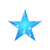 Polygonal star vector background. Low poly blue star make with triangles. Flickering polygonal star vector background Stock Photo