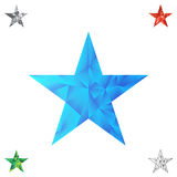 Polygonal star vector background. Low poly blue star make with triangles. Flickering polygonal star vector background Royalty Free Stock Images