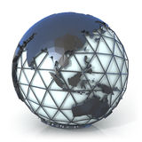 Polygonal style illustration of earth globe, Asia and Oceania view. 3D render Stock Photo