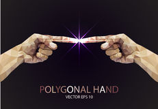 Polygonal style pointing finger light. Vector Royalty Free Stock Photography