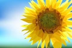 Polygonal sunflower on a blue background. Vector illustration Stock Photo