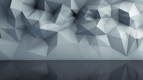 Polygonal surface with reflection 3D render Royalty Free Stock Photography