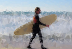 Polygonal surfer Royalty Free Stock Image