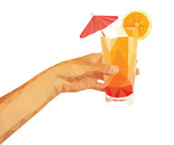 Polygonal technique hand holding a summer drink orange juice wit. H an umbrella Royalty Free Stock Image