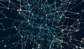 Polygonal teknologibakgrund Abstrakt utrymmebakgrund, geometri ytbehandlar, fodrar och punkter Arkivbild