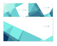Polygonal template. Vector set of business cards and envelope templates. Stylish turquoise crystal. Can be used as flyer, cover, business cards, envelope, and Royalty Free Stock Image
