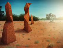 Polygonal Termitaria. Surreal digital painting of polygonal shaped termite mounds in an arid landscape Royalty Free Stock Photography