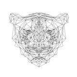 Polygonal tigerdjur Vektortigerillustration för tatuering, färgläggning, tapet och printing på t-skjortor Katt vektor illustrationer