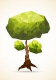 Polygonal träd som isoleras på vit bakgrund stock illustrationer