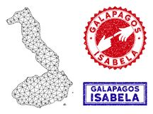 Polygonal tr?dram Isabela Island av Galapagos ?versikts- och Grungest?mplar royaltyfri illustrationer