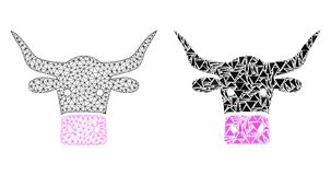 Polygonal trådram Mesh Beef Head och mosaisk symbol stock illustrationer