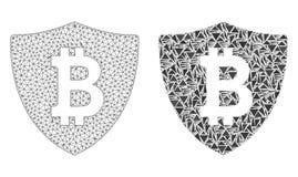 Polygonal trådram Mesh Bitcoin Protection och mosaisk symbol stock illustrationer
