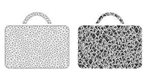 Polygonal trådram Mesh Case och mosaisk symbol vektor illustrationer