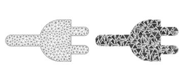 Polygonal trådram Mesh Electric Plug och mosaisk symbol vektor illustrationer